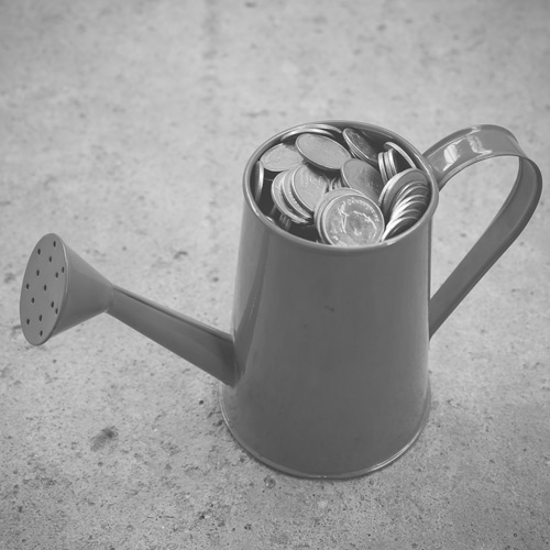 Watering can full of coins