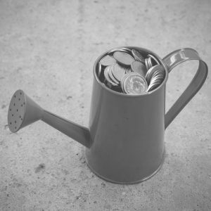 Watering can full of coins representing cash-flow